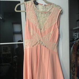 Bebe pink and cream lace mini dress